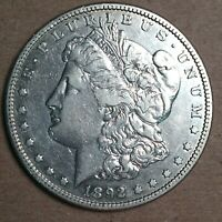 1892-S MORGAN SILVER DOLLAR EXTRA FINE  CLEANED