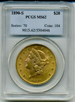 1890 S LIBERTY DOUBLE EAGLE PCGS MS62  DDR