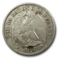 CHILE 1876 SO SILVER 1 PESO NICE COIN HAS BEEN CLEANED NICE COLLECTIBLE