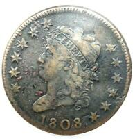1808 CLASSIC LIBERTY LARGE CENT 1C - ANACS VF30 DETAILS -  DATE PENNY