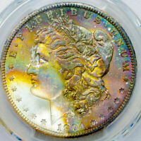 1904-O PCGS MINT STATE 65 MORGAN $ GORGEOUS COLORFUL RAINBOW TONING