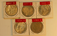 MORGAN DOLLARS, 5 DATES 1901 O, 1901 S, 1902 O, 1904 O, 1904 S