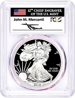 2019-W PROOF SILVER EAGLE-PCGS PR70-FIRST STRIKE-MERCANTI-FLAG-POPULATION 401