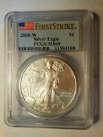 2008-W WITH MINT MARK-W PCGS MINT STATE 69 FIRST STRIKE 1 OZ. AMERICAN SILVER EAGLE