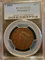 1816 BRAIDED HAIR LARGE CENT NEWCOMB 9  EXTRA FINE  45