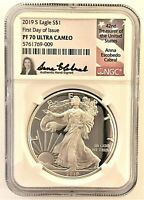 2019-S PROOF SILVER EAGLE-NGC PF70-FDOI-ANNA CABRAL-POPULATION ONLY 75
