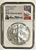 2019-W BURNISHED SILVER EAGLE-NGC MS70-FDOI-ANNA CABRAL-POPULATION ONLY 270