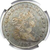 1802 DRAPED BUST SILVER DOLLAR $1 WIDE DATE COIN BB-242 B5 - NGC VF DETAIL - R5