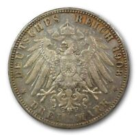 1908 J HAMBURG GERMANY 3 MARK TONED HIGH GRADE FOREIGN WORLD SILVER COIN