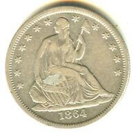1864 S SEATED LIBERTY HALF DOLLAR VF/XF SILVER TYPE COIN BETTER DATE NO MOTTO
