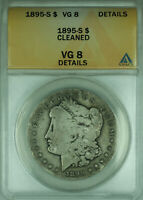 1895-S MORGAN SILVER DOLLAR $1 COIN ANACS VG-8 DETAILS CLEANED