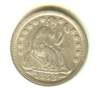 1853 SEATED LIBERTY DIME AU   SILVER TYPE COIN NO MOTTO WITH