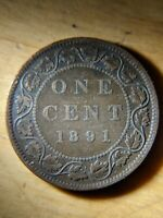 CANADA LARGE CENT 1891 SL SD  SMALL LEAVES SMALL DATE