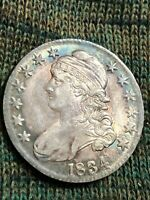 1834 CAPPED BUST LIBERTY HALF SILVER DOLLAR AU TONED COIN AT