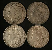 LOT OF 4 $1 MORGAN SILVER DOLLARS - 1884,1890-O,1897-O,1901-O - FREE SHIP US