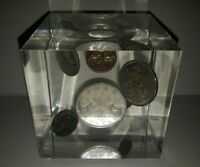 1962 CANADIAN SILVER COIN SET IN LUCITE CUBE