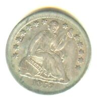 1857 SEATED LIBERTY HALF DIME MS DETAILS IN GRADE SILVER TYP