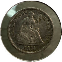 1871 SILVER SEATED LIBERTY HALF DIME 5 US COIN CV563