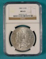 1882 S MORGAN SILVER DOLLAR NGC MINT STATE 63 SUPER EYE APPEAL BLAST WHITE SAN FRANCISCO