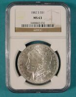 1882 S MORGAN SILVER DOLLAR NGC MINT STATE 63 CERTIFIED BLAST WHITE SAN FRANCISCO