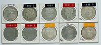 MORGAN DOLLARS, 1892 O, CHOSE 4 FROM 16 DIFFERENT DATE/MM:, 1883-1884, 1890-1897