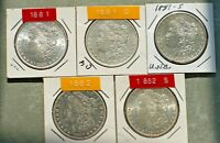 MORGAN DOLLARS 5 DIFFERENT DATE/MINT: 1881,1881 O,1881 S,1882,1882 S