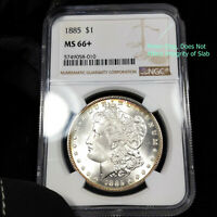 1885 P MINT STATE 66 PLUS MORGAN SILVER DOLLAR $1, NGC GRADED