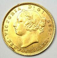 1882 H CANADA NEWFOUNDLAND VICTORIA GOLD $2 COIN   AU / UNC DETAILS    COIN