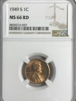 1949-S NGC MINT STATE 66 RD LINCOLN CENT