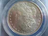 1891 P MORGAN SILVER DOLLAR ANACS MINT STATE 60 DETAILS - CLEANED