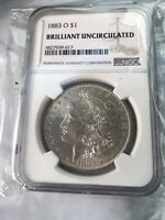 1883-O MORGAN SILVER DOLLAR - BRILLIANT UNCIRCULATED BU UNC - NGC GRADED  .