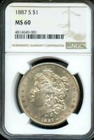 1887 MORGAN SILVER DOLLAR - GRADED MINT STATE 60 AND UNCIRCULATED