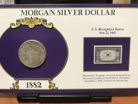 1882 MORGAN SILVER DOLLAR AND VINTAGE STAMP COLLECTION CARD