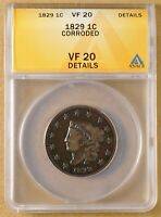1829 CORONET HEAD LARGE CENT ANACS VF 20 DETAILS