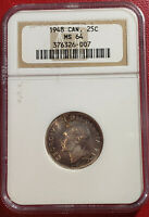 CANADA 1948 SILVER 25 CENTS NGC GRADED MINT STATE 64 KEY DATE UNCIRCULATED