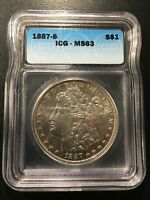 1887 S MORGAN DOLLAR ICG MINT STATE 63 - BETTER DATE - UNCIRCULATED - CERTIFIED SLAB -$1