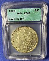 1893 MORGAN SILVER DOLLAR VAM-4 - TOP 100, EF45