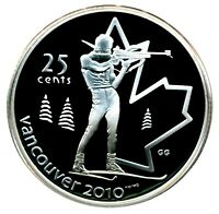 CANADA 25 CENT SILVER PROOF 2010 VANCOUVER BIATHLON