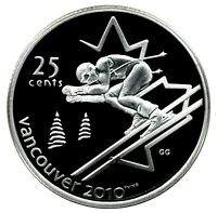 CANADA 25 CENT SILVER PROOF 2010 VANCOUVER ALPINE SKIING