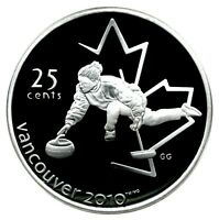 CANADA 25 CENT SILVER PROOF 2010 VANCOUVER CURLING