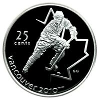 CANADA 25 CENT SILVER PROOF 2010 VANCOUVER ICE HOCKEY