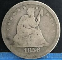 1856 SEATED LIBERTY QUARTER 25C. NICE COLLECTOR COIN FOR THE