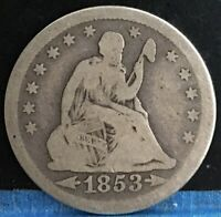 1853 W/ARROWS SEATED LIBERTY QUARTER 25C. NICE COLLECTOR COI