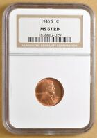 1946 S LINCOLN WHEAT CENT NGC MINT STATE 67RD