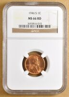 1946 S LINCOLN WHEAT CENT NGC MINT STATE 66RD