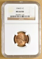 1944 D LINCOLN WHEAT CENT NGC MINT STATE 66RD