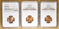1951 PD&S LINCOLN WHEAT PENNIES NGC MINT STATE 66RD
