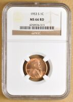 1953 S LINCOLN WHEAT CENT NGC MINT STATE 66RD