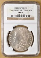 1900 P MORGAN SILVER DOLLAR VAM-16A MPD & DDR OLIVES NGC MINT STATE 62