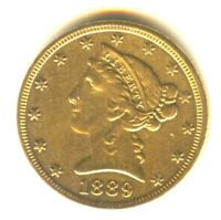 1889 P LIBERTY HALF EAGLE $5 GOLD AU    IN GRADE EXCELLENT S